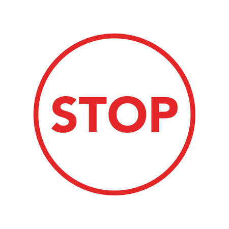 Vector warning stop sign icon. Caution Stop sign sticker illustration in flat minimalism style.