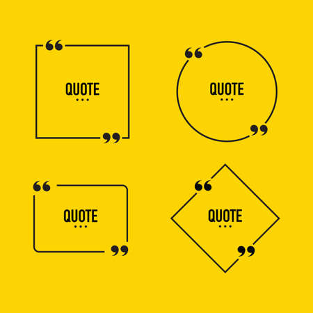 Quote box frame set. Text speech bubble design. Comment, quotation, feedback, sentence, quote word. Vector illustration. Ilustracja