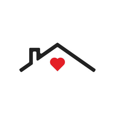 House icon Vector simple flat symbol with red heart, stay home Vector illustration Ilustracja
