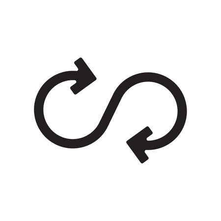 Infinity arrow Icon. Unlimited Sign and Symbol on White Background. Vector illustration