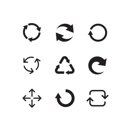 Collection Of Recycle Circle Icons. Set of Refresh Signs. Arrows. Vector illustration