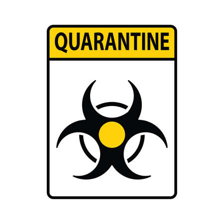 Danger and Caution Yellow Sign with Strip. Biological Hazard Icon. Warning Sign. Coronavirus. Vector illustration Ilustracja