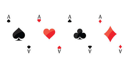 Four aces playing cards on white background Vector illustration.