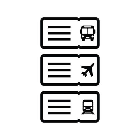 Vector transportation ticket airplane train bus. Vector icon illustration.