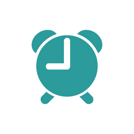Alarm clock icon in flat style isolated on white background. Vector illustration.