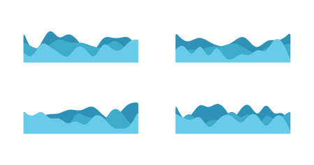Vector blue wave icons set on white background. Water waves different. Vector illustration