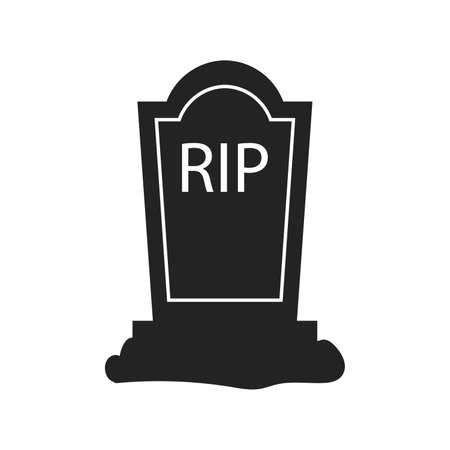 Rip grave tombstone cross sign crucifix vector icon. Vector illustration