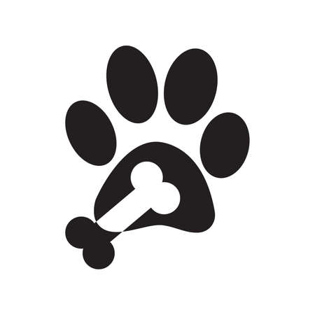 Paw logo or cat and dog animal pet vector paw footprint icon. Vector illustration