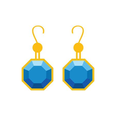 Pearl Earrings. Vector Illustration. blue diamond on white background
