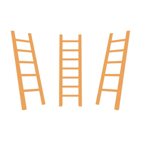 wooden ladder on white background. Folding ladder. Vector illustration