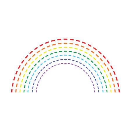 Rainbow vector icon isolated on white background. Flat design cartoon style illustration. Ilustracja