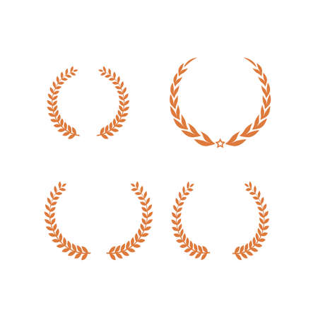 Golden Laurel wreath set. Round frame for invitations, greeting cards, quotes, logos, posters and more. Isolated vector illustration.