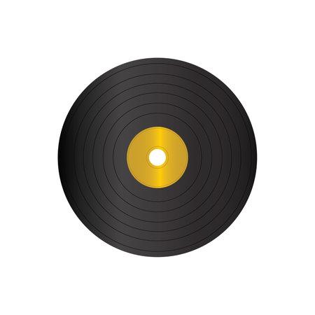 Black vinyl record long play album disc on white
