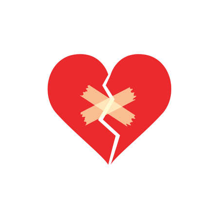 Broken heart with first aid bandage. World First Aid Day concept. vector