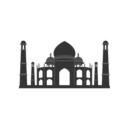 Taj Mahal black flat art illustration India. Vector illustration Иллюстрация