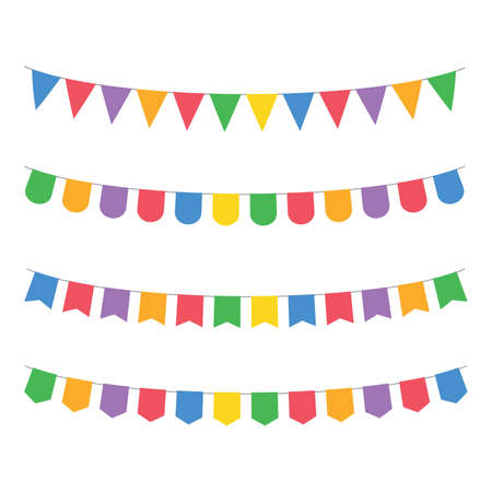 triangle bunting party flags set color vector holiday background