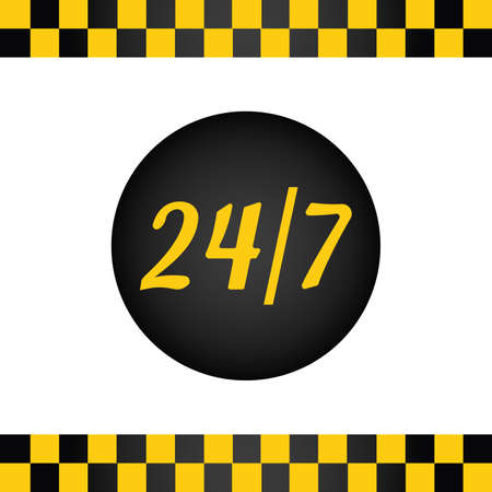 Taxi background with taxi stripes and button work all day
