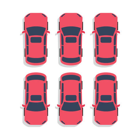 Top View Parking lot design. Many cars parked. Vector Illustration