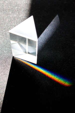 De ontleding van licht in een prisma in de kleuren van de regenboog