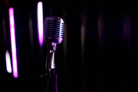 steel microphone on stage