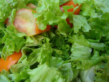 carnes y verduras: tipo de ensalada con lechuga, tomate y cebolla, comida dietética Foto de archivo