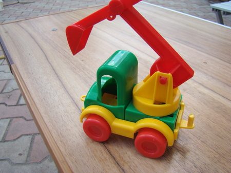 plastic made: toy machine for children made of plastic Stock Photo