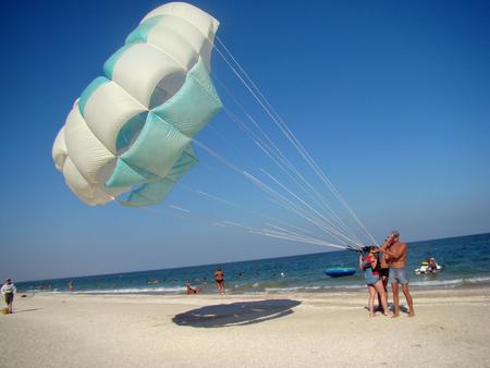 adrenalin: parachute ride in the urban-type village Kirillovka on the Azov sea coast photo taken 31 July 2015.
