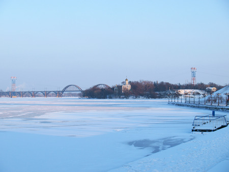 the dnieper: Dnepropetrovsk on the right Bank of the Dnieper river views from the waterfront to the monastic island.