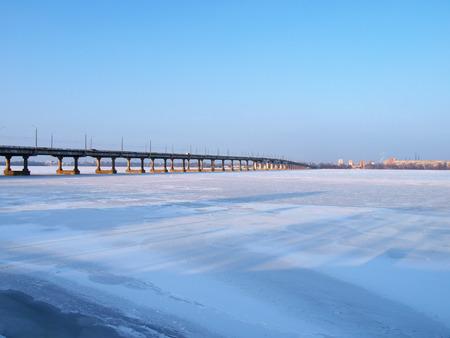 the dnieper: Kiev,the bridge across the frozen river Dnieper.