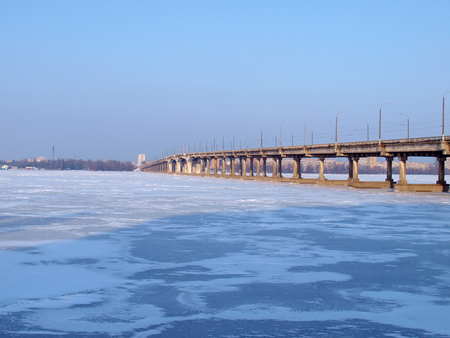 frozen river: Dnipropetrovsk-the bridge over the frozen river Dnipro
