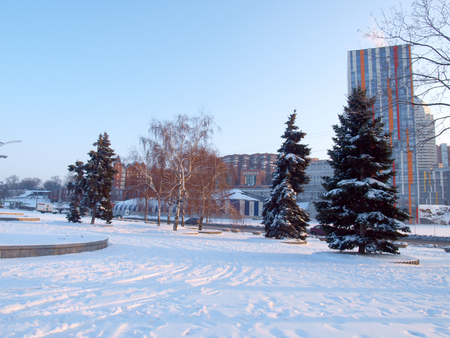 the dnieper: Dnepropetrovsk,embankment of the right Bank of the Dnieper river,city centre. Stock Photo