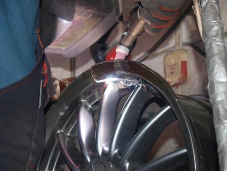 argon: Argon-arc welding,titanium disk,repair Stock Photo