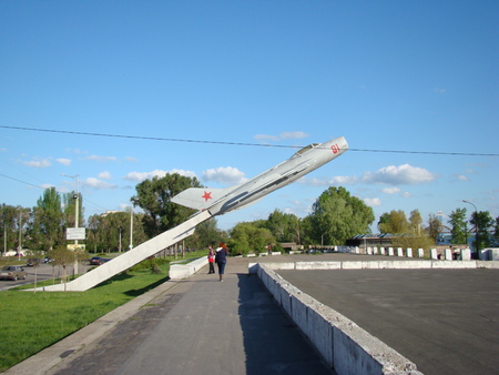 solar array: monument to the plane in the city of Dnepropetrovsk on a residential solar array