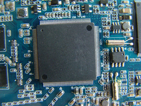 microelectronics: microelectronic components in the form of a chip and electronic components. Stock Photo