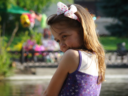baby girl on the lake Stock Photo