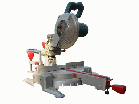 mitre: mitre saw  professional tool on a white background