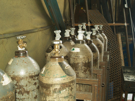 cylinders for gas welding with acetylene Stock Photo