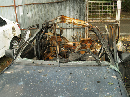 vehicle was destroyed after a fire in the Parking lot