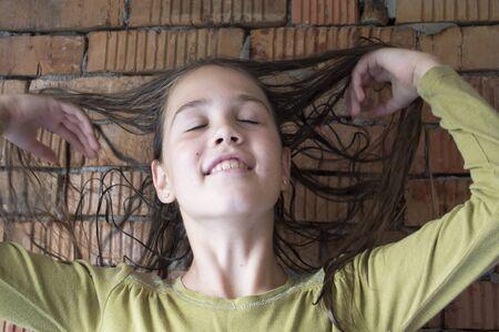 girl with wet hair close-up Standard-Bild - 131913754