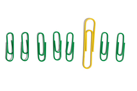 business innovation: Color clips placed on white background
