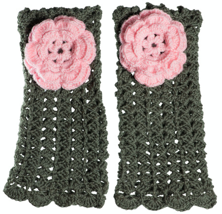 mitts: Handmade mitts with pink flower isolated Stock Photo