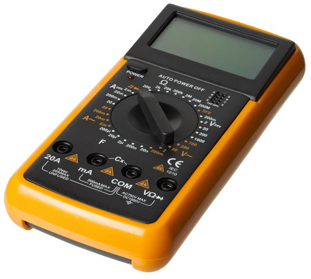 the tester: Digital Multimeter, Electrical Tester isolated, white background