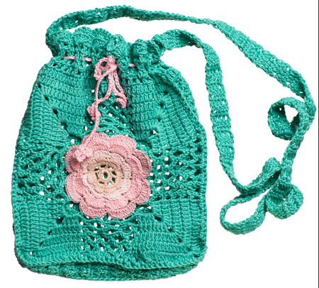 flaxen: Knitted handmade blue Gift Bag isolated