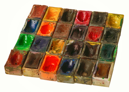 paintbox: Old water color paints on a white background