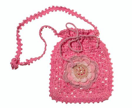 trabajo manual: bolso de las se�oras rosadas del trabajo hecho a mano con la flor
