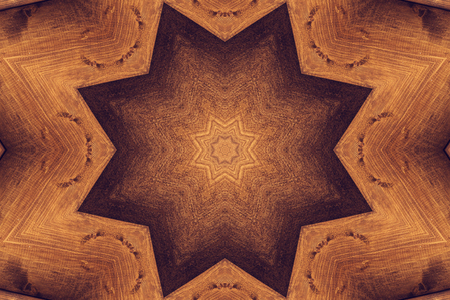 octagonal: Brown kaleidoscope pattern with octagonal star Stock Photo