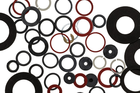 sanitary: Background from rubber, plastic, metal seals for sanitary uses