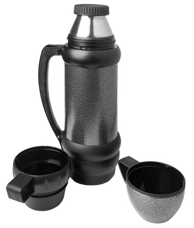 insulated: Thermos of gray color with two cups on a white background  Stock Photo