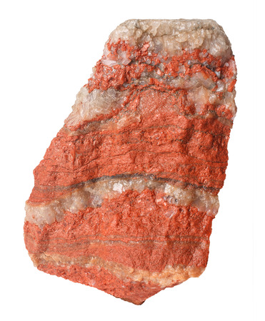 Stone red potassium salt with sodium salt layers isolated on white background.