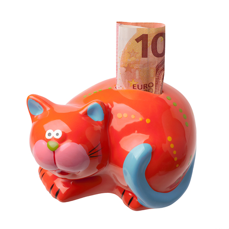 Red piggy bank in the form of a cat with a banknote of ten euros isolated on white background